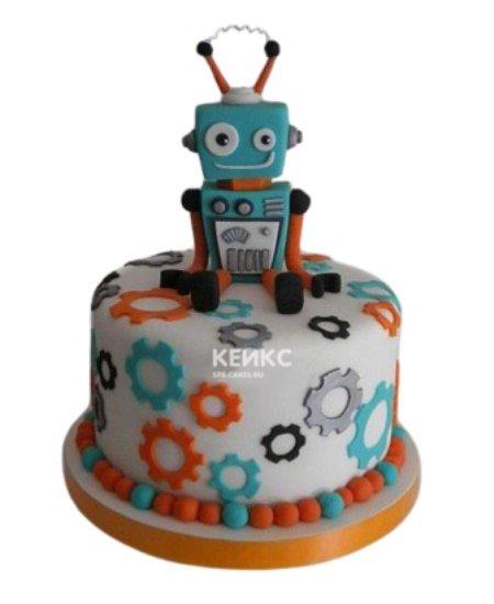 Торт робот с разноцветными шестеренками