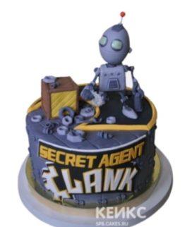 Торт с фигуркой робота и надписью