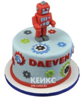 Торт с фигуркой красного робота