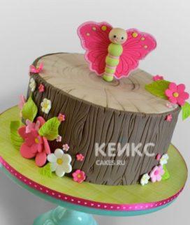 Торт бабочки в виде пенька