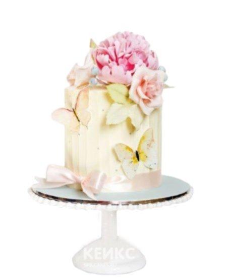 Торт бабочки с цветами и бантиком