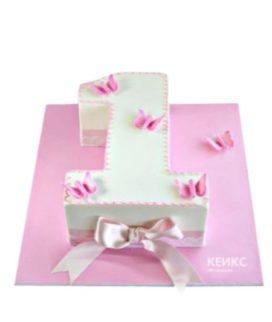 Торт в виде цифры с розовыми бабочками