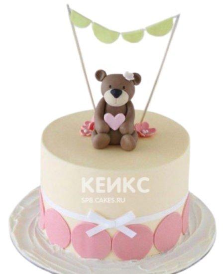 Торт медведь с розовым сердечком