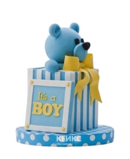 Торт медведь голубого цвета с бантиком