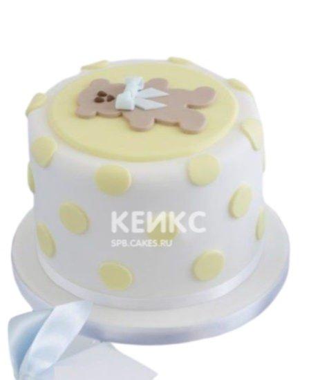 Детский торт из мастики с милым медвеженком с бантиком