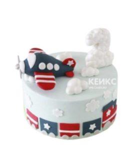Торт с самолетиком и облаками
