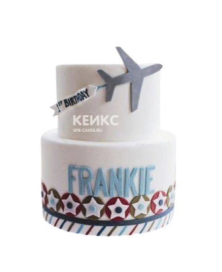 Торт с самолетиком и звездочками