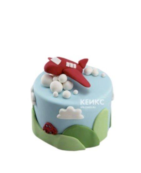 Детский торт красный самолетик в облаках