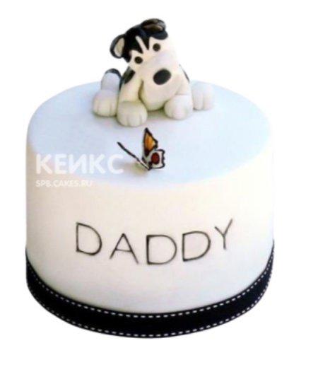 Белый торт собачка хаски