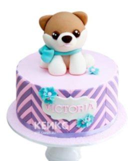 Детский торт собачка с голубым бантиком