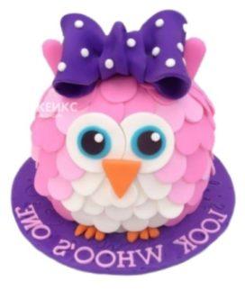 Торт розовая сова с сиреневым бантиком