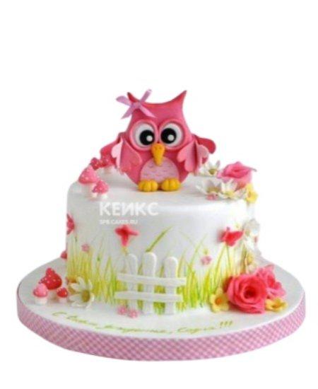 Торт сова розового цвета