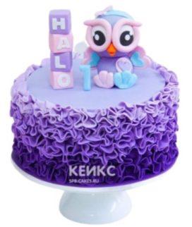Детский торт Сова в фиолетовых тонах с рюшами для девочки