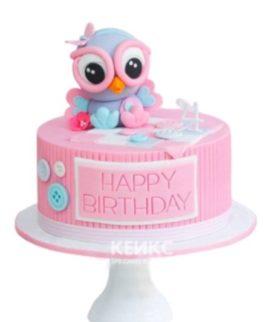 Розовый торт с фиолетовой совой