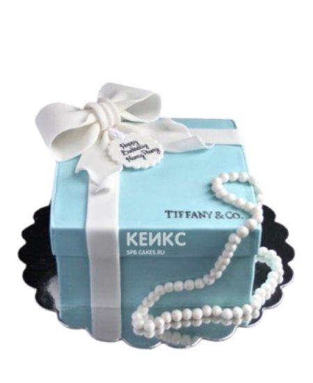 Торт в стиле Тиффани в виде коробки с бантом