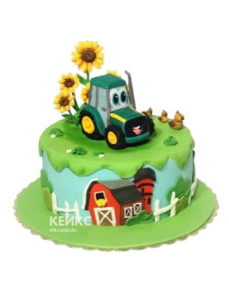 Торт с фигуркой трактора и подсолнухами