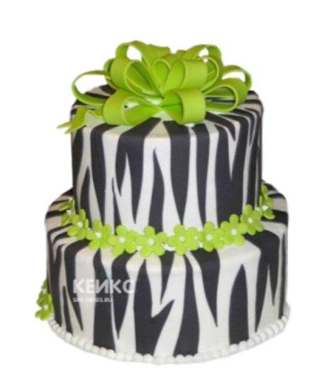 Торт зебра с зелеными цветочками