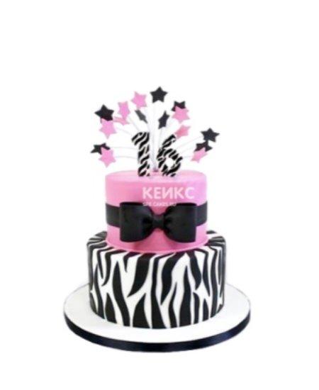 Торт зебра с бантом и звездочками