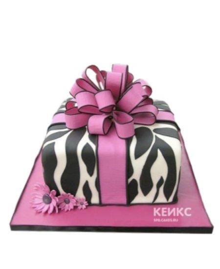 Торт зебра с розовым бантом и цветами