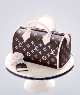 Торт сумка Луи Витон с розой