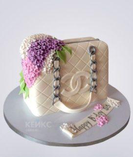 Торт бежевая сумка Шанель с цветами