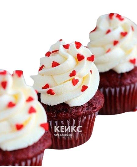 Романтичные красные капкейки с кремом и сердцами