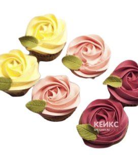 Капкейки на 8 марта в виде разноцветных цветов