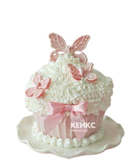 Нежные капкейки с розовыми бабочками и бантиком на годик
