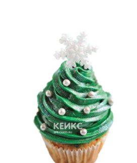 Капкейки на новый год с зеленым кремом и снежинками