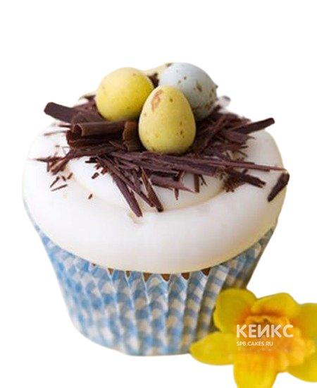 Капкейки на пасху с шоколадным гнездышком