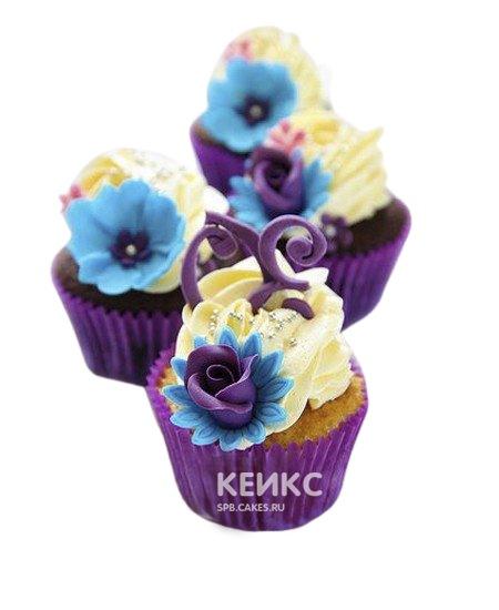 Капкейки с цветами 1