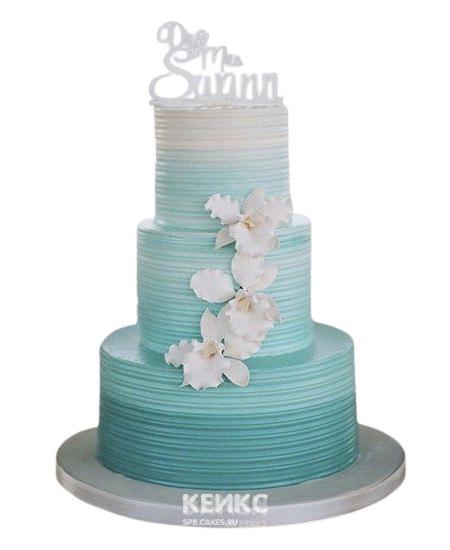 Свадебный торт в нежном бирюзовом цвете с орхидеями из мастики