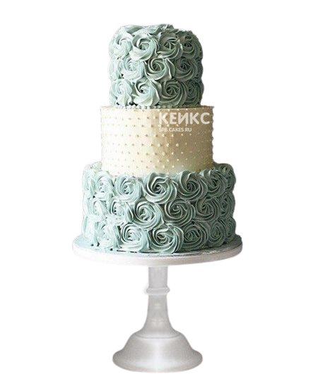 Свадебный торт в бирюзовом цвете с кремовыми цветами