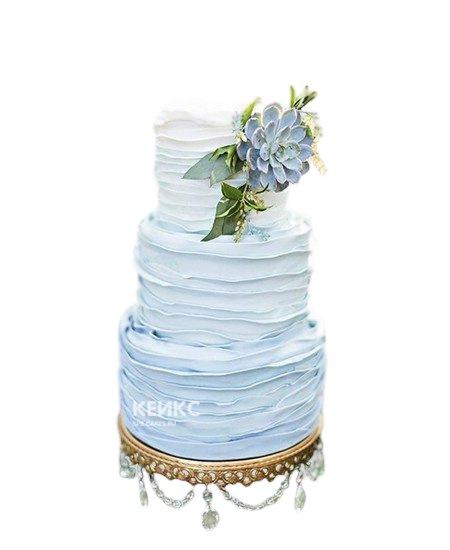 Трехъярусный свадебный торт в бирюзовом цвете