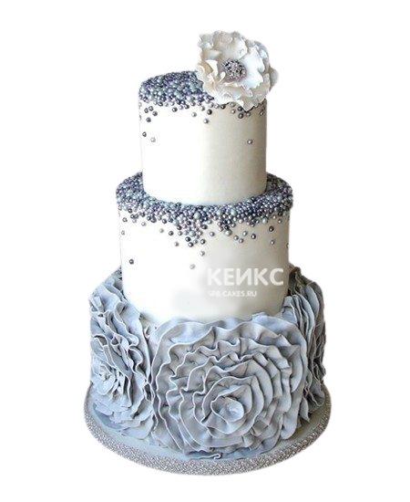 Свадебный торт в бирюзовом цвете с белым цветком