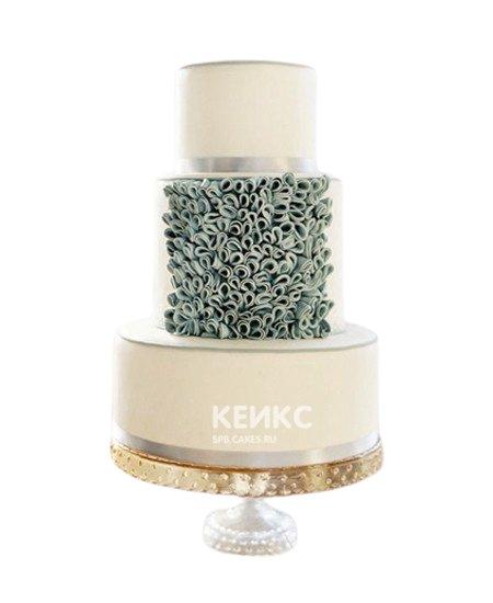 Торт свадебный в бирюзовом цвете