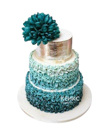 Свадебный торт в бирюзовом цвете с кружевами