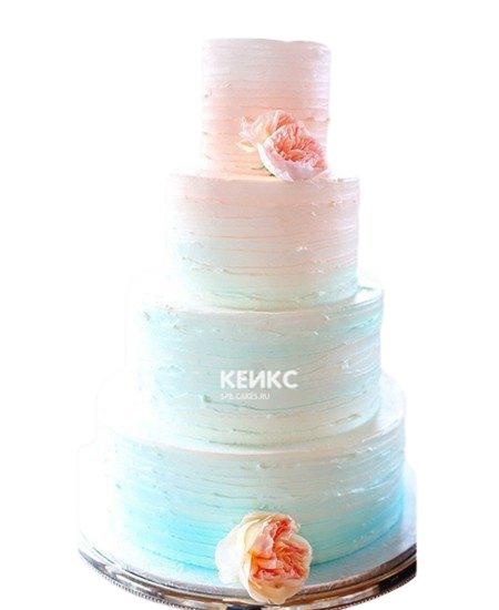Высокий свадебный торт омбре в бирюзовых тонах