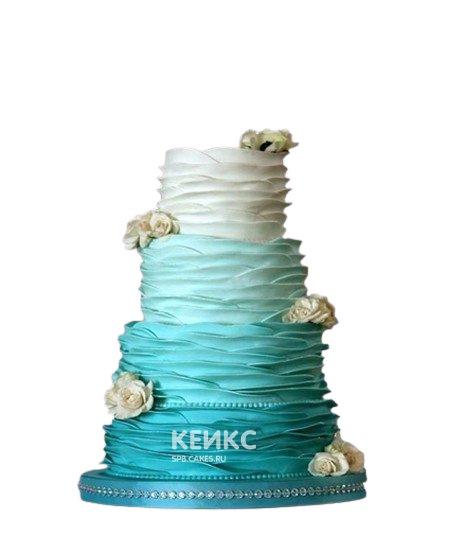 Четырехъярусный бирюзовый свадебный торт с цветами