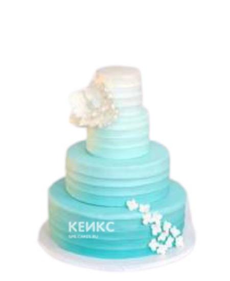 Бирюзовый свадебный торт омбре с белыми цветами