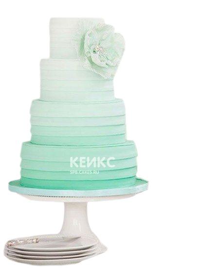 Высокий бирюзовый свадебный торт омбре с рюшами и цветком