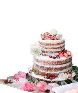 Свадебный торт с цветами и ягодами
