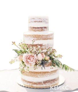 Голый свадебный торт с красивыми цветами