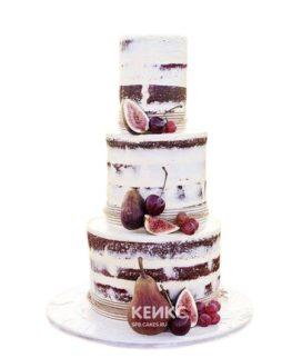 Голый свадебный торт с вишнями и грушами