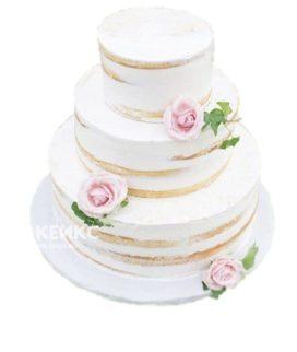 Голый свадебный торт с живыми розами и плющом