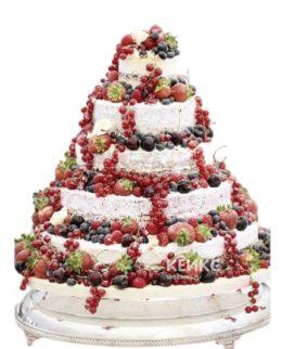 Свадебный торт голый белый с ягодами