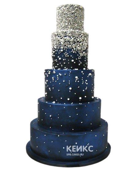 Эксклюзивный свадебный торт синего цвета