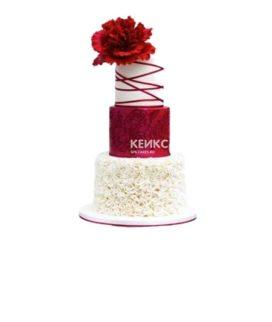 Эксклюзивный красно-белый свадебный торт