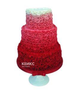 Красивый и нежный свадебный торт в красно-белом цвете