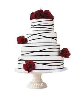 Четырехъярусный красно-белый свадебный торт